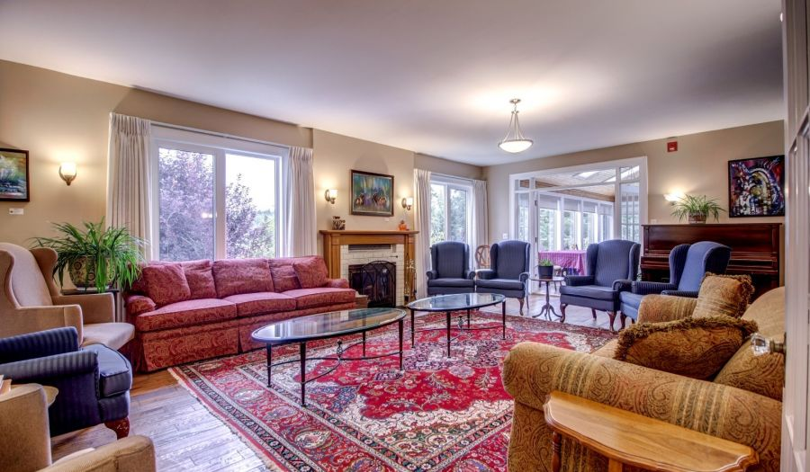 Lounge space for groups at the Crossing at Ghost River, Cochrane Alberta
